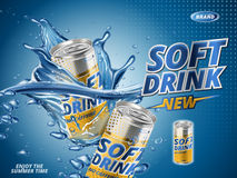 New lemon soft drink. Soft drink lemon flavor contained in yellow metal can, water background vector illustration
