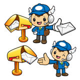 The new letter to the Mailman Character arrived. Stock Photography