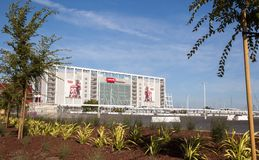 New Levi's Stadium San Jose. The freshly planted landscaping frames the newest US football stadium in San Jose Stock Images