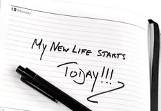 New Life. Fresh start message in a diary royalty free stock images