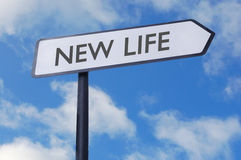 New life. Street sign against blue sky royalty free stock photos
