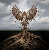 New Life. Breaking free as a concept for freedom and power as the rise of the phoenix to be reborn and overcome challenges rising from entangled tree roots as a vector illustration