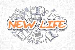 New Life - Cartoon Orange Word. Business Concept. Stock Photos