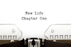New Life Chapter One Typewriter. New Life Chapter One printed on an old typewriter royalty free stock photography