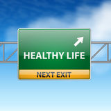 New life concept with road sign. On a blue sky background royalty free illustration