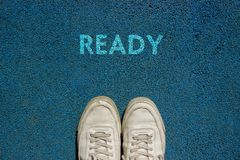 New Life Concept, Motivational Slogan with Word READY on the Ground of Walk Way royalty free stock image
