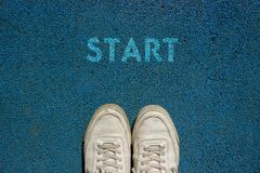 New Life Concept, Motivational Slogan with Word START on the Ground of Walk Way stock photos