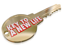 A New Life Gold Key Begin Fresh Restart Improvement. A gold key with the words A New Life to symbolize change, evolution, restart, refresh and an improved Stock Photography