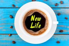 New life - inscription on top viewed morning coffee mug royalty free stock photo