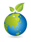 New life, leaf with world map globe Royalty Free Stock Photography