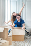 New life in a new home. Couple in love enjoys a new apartment an Stock Image
