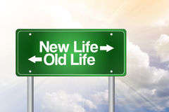 New Life, Old Life Green Road Sign Stock Photo