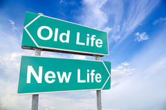 New life old life road sign on sky background Stock Photo