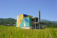 New life of the old waste incinerator. Valdagno, VI, Italy - june 26, 2011: old waste incineration plant, converted back to events area Royalty Free Stock Photos