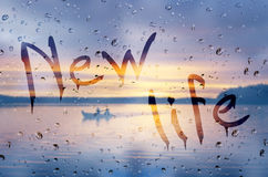 New life. Rain on glass with New life text vector illustration