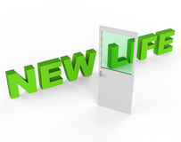 New Life Shows Start Again And Door. New Life Meaning Fresh Start And Beginnings royalty free illustration