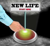 New Life Sign and Button. Finger Pressing Large Button To Start A New Life Royalty Free Stock Images