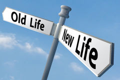 New life. A sign post of changing to a new way of life Royalty Free Stock Images