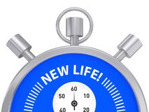 New life. Stop watch with stop, start and winder buttons inscribed with text 'new life!' in uppercase white letters on blue, white background vector illustration