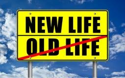New Life. Versus Old Life road sign illustration royalty free illustration
