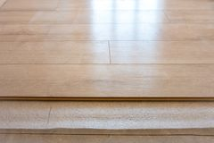 New light laminate on the floor, with lots of natural light. The New light laminate on the floor, with lots of natural light royalty free stock photos