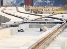 New light rail rapid transportation system. The construction site of new light rail rapid transportation system stock image