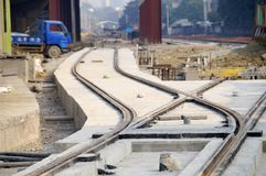 New light rail rapid transportation system. The construction site of new light rail rapid transportation system royalty free stock image