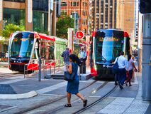 Free New Light Rail Trams, George Street, Sydney, Australia Royalty Free Stock Photography - 170016827