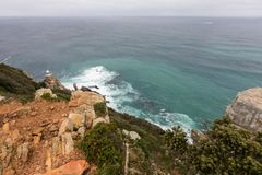 The new lighthouse of Cape Point in Cape of Good Hope Nature Reserve in Cape Peninsula, Western Cape, South Africa royalty free stock images