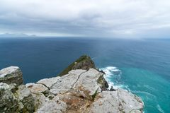 The new lighthouse of Cape Point in Cape of Good Hope Nature Reserve in Cape Peninsula, Western Cape, South Africa. CAPE TOWN, SOUTH AFRICA - DECEMBER 12, 2014 royalty free stock photo