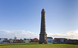 New lighthouse and city centre at Borkum island Royalty Free Stock Image