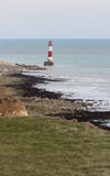 New lighthouse in Seven Sisters Cliffs in UK at chalk rocks Stock Photo