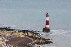 New lighthouse in Seven Sisters Cliffs in UK at chalk rocks Royalty Free Stock Photo