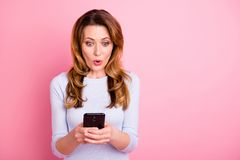 Free New Like. Omg. Portrait Of Impressed Addicted Woman Use Her Smartphone Read Feednews Get Notification About Likes Wear Royalty Free Stock Photography - 160105727