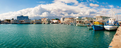 New Limassol Marina. Panoramic photo Royalty Free Stock Photos