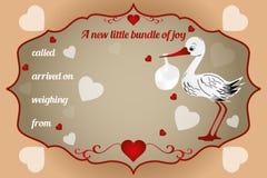 New little bundle of joy card. Vector illustration with baby-bundle and stork stock illustration