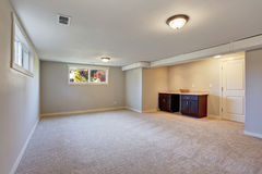 New living room with  carpet and fire place. Stock Photo