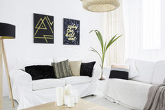 New living room with couch. New living room with white couch, black lamp and pillows Stock Photos