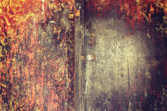 Free New Lock And Rusty Padlock On An Old Wooden Door With Vintage St Stock Image - 86424591