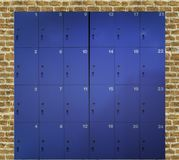 New locker. New blue locker set in swimming bathroom royalty free stock images