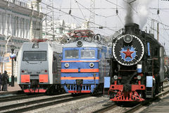 New locomotives and old steam locomotive Royalty Free Stock Photography
