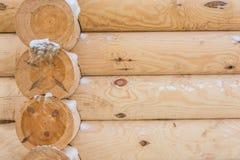 New log cabin. Texture of the new log frame shot closeup Stock Image
