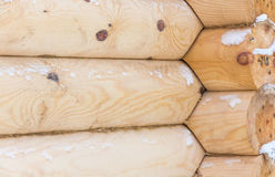New log cabin. Texture of the new log frame shot closeup Royalty Free Stock Photography
