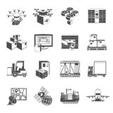 New logistic icons set black Royalty Free Stock Photos