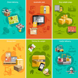 New logistics flat icons composition poster Stock Image