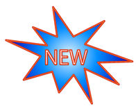 New logo. A neon star showing the word new vector illustration