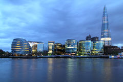 New London city hall. At night , panoramic view from river Stock Photo