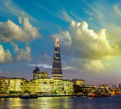 New London city hall at dusk, panoramic view from river. Stock Photo