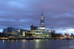 New London city hall at night. Panoramic view from river Royalty Free Stock Photography