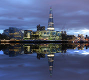 New London city hall at night. Panoramic view from river Stock Images